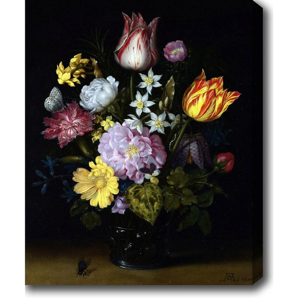Ambrosius Bosschaert the Elder 'Flowers in a Glass Vase' Oil on Canvas Art 16013691