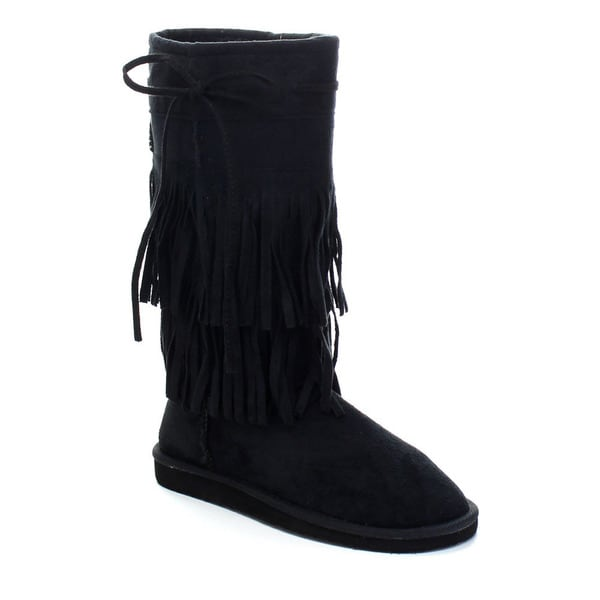 Forever Aling-82 Women's Stylish Mid Calf Two-layer Fringe Flat Boots