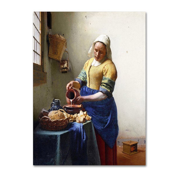 Jan Vermeer 'The Milkmaid 1658-60' Canvas Art