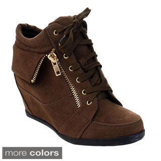 Forever Gladys-24 Women's Chic Lace Up Hidden Wedge Sneakers