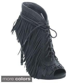 Wild Rose Beryl-01 Women's Fringe Lace Up Stiletto Heel Ankle Booties