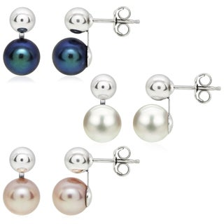 DaVonna Sterling Silver White Black and Pink Cultured Pearl and Ball Earring Set