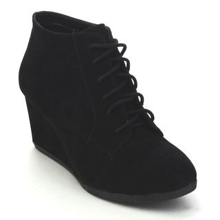 Bellamarie Brenda-11 Women's Classic Lace Up Wedge Ankle Booties