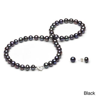 DaVonna Sterling Silver Black or White Freshwater Pearl Jewelry Set (7-8 mm)