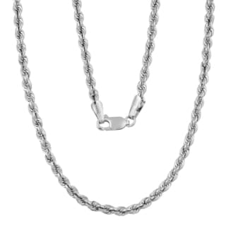 Fremada 14k White Gold 3-mm High Polish Hollow Rope Necklace (18 - 30 inches)
