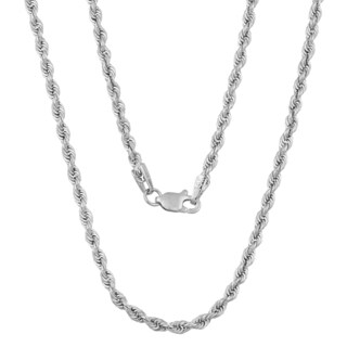 Fremada 14k White Gold 2.3-mm High Polish Hollow Rope Necklace (18 - 22 inches)