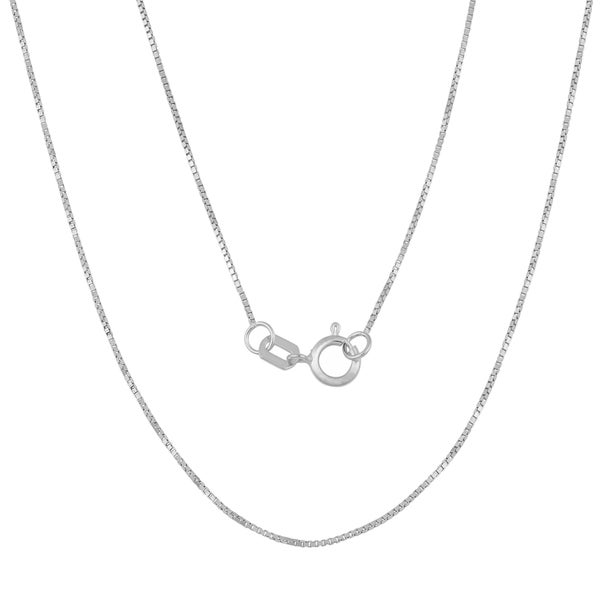 Fremada 14k White Gold High Polish Box Chain Necklace (20 inches)