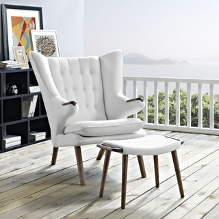 inspire q albury white faux leather chair with ottoman white leather