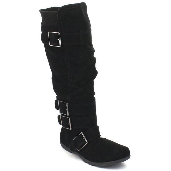 Anna Bd-2523 Women's Slouchy Multi-buckle Strap Knee High Riding Boots