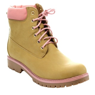 Bellamarie Denver-18 Women's Classic Round Toe Lace Up Stitching Short Boots
