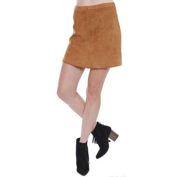 Junior's Boho Fuax Suede Skater Skirt TS0235B