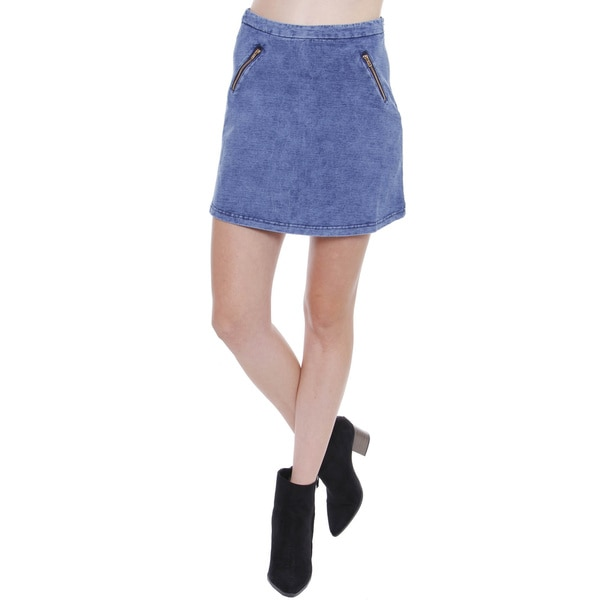 Junior's Sporty Denim Skater Skirt With Side Zipper TS0234B