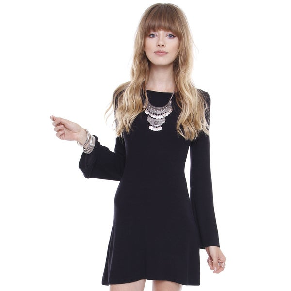 Junior's Gypsy Black Bell Long Sleeve Dress TD0537