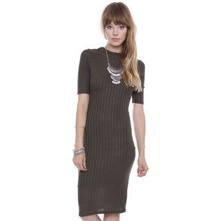 Junior's Olive Rib High Neck Midi Dress RD15257