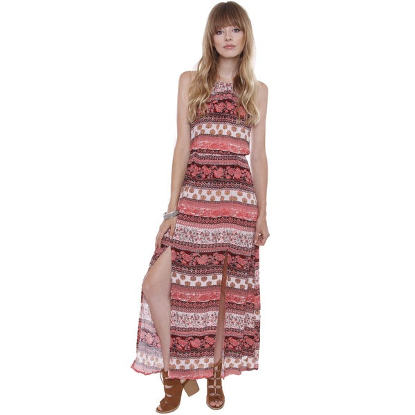 Junior's Boho Floral Print Crepe Maxi Dress MD75209FA