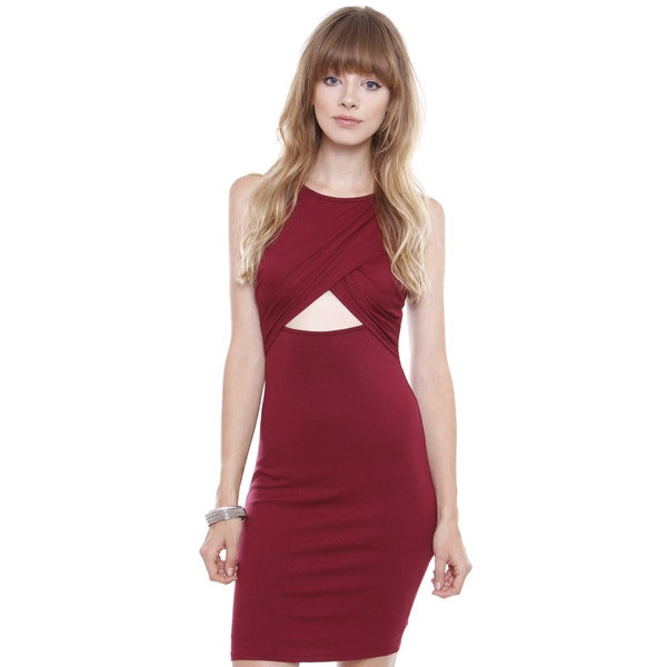 Junior's Marsala Crepe Knit Midi Dress L358