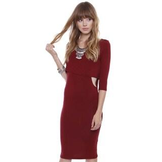 Junior's Crop Long Sleeve Bodice Midi Dress JD14989