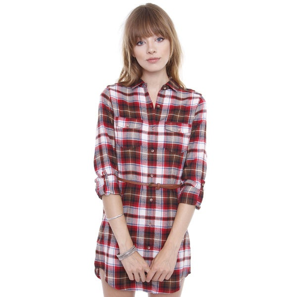 Junior's Red Flannel Long Sleeve Shirt Dress With Belt E2224D-C