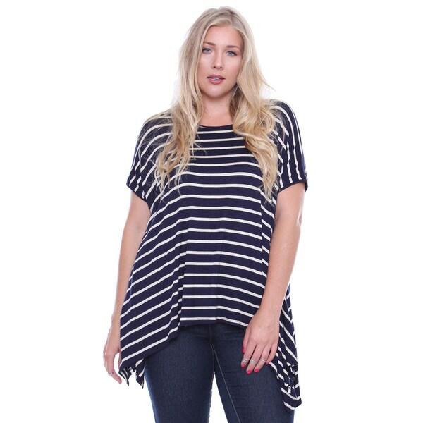 Beston Plus Junior's Navy Striped Plus-Size Top (One Size)