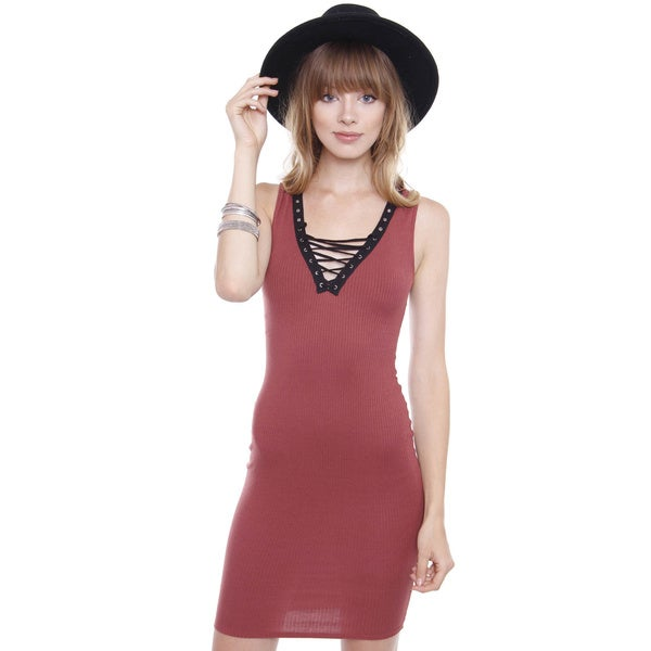 Junior's Rust Burgundy Lace Up Rib Dress D1162