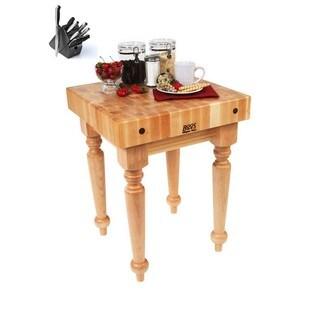 John Boos Saratoga Farm Block Table SARB1-M 24x24 with Bonus J.A. Henckels 13 Piece Kinife Set