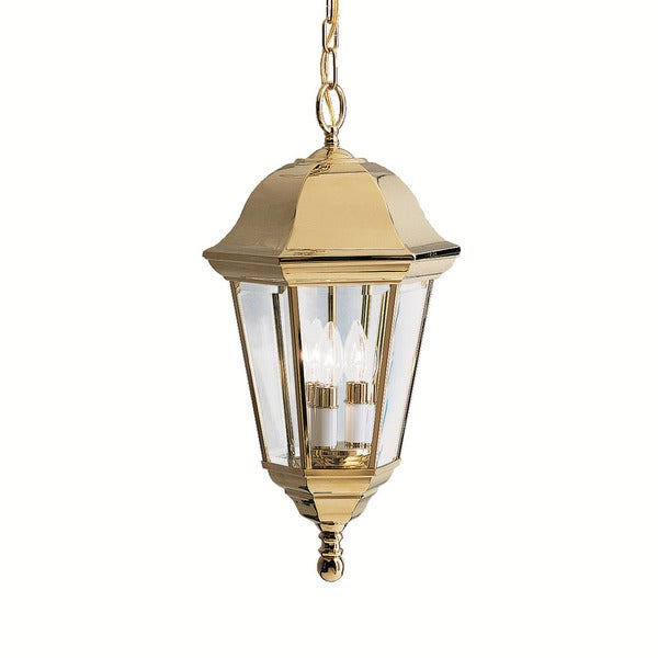 Kichler Lighting Grove Mill Collection 3-light Polished Brass Outdoor Hanging Pendant
