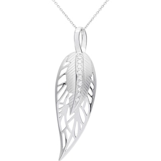 Elan Sterling Silver 1/5ct White Sapphire Feather Pendant