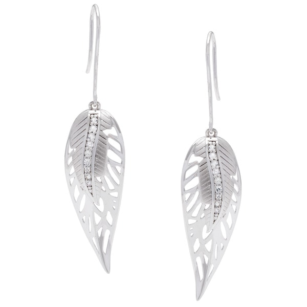 Elan Sterling Silver White Sapphire Leaf Earrings