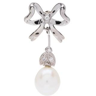 Elan Sterling Silver 1/12ct TDW Brilliant Diamond and Pearl Earrings