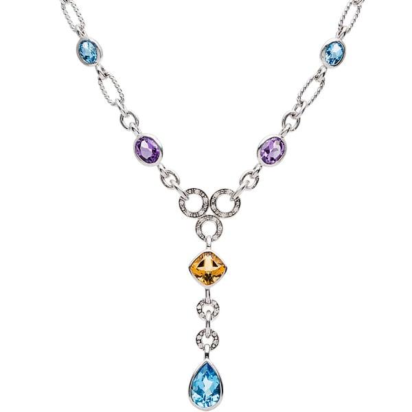 Elan Sterling Silver 1/8ct TDW Diamond Multi-gemstone Necklace