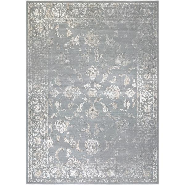 Couristan Provincia Botanic Appliqu Grey/ Cream Area Rug (3'11 x 5'3)