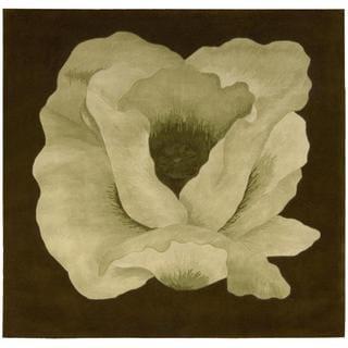 Nourison Flower Art Green Square Rug (6' x 6')