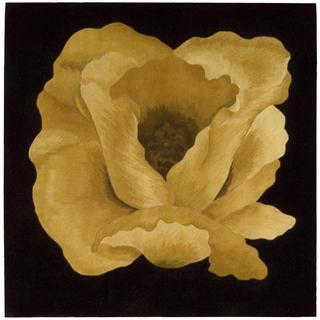 Nourison Flower Art Gold Square Rug (6' x 6')