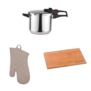 Magefesa Practika Plus 8-Quart Super Fast Pressure Cooker + Kitchen Oven Mitt + Wusthof Bamboo Cutting Board