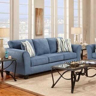 Microfiber Sofa with 2 Pillows, Patriot Blue