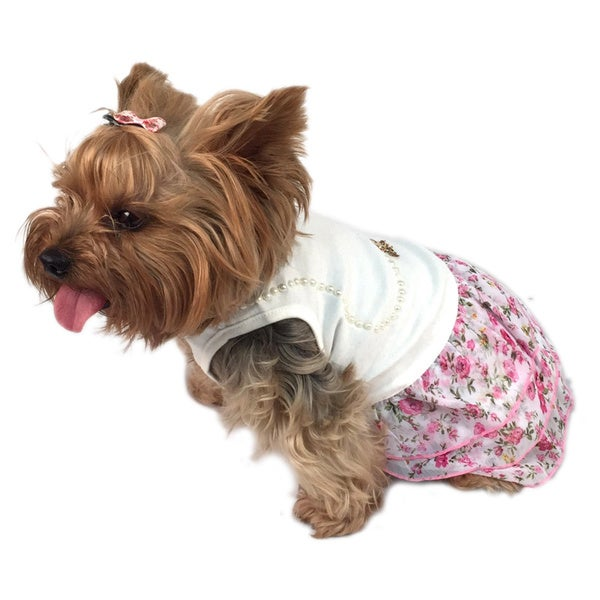 ANIMA Floral Faux Pearl Top Chiffon Skirt Pet Dress