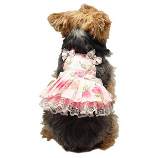 ANIMA Pretty Pink Flower Print Apron Style Pet Dress