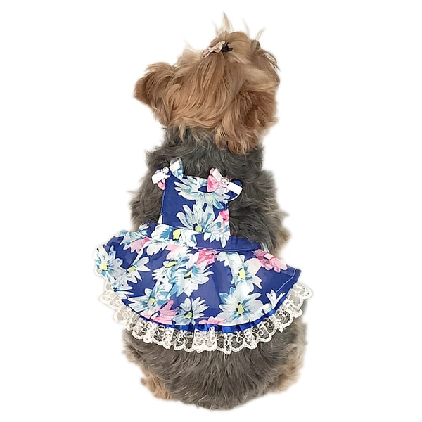 ANIMA Blue/ Yellow Flower Apron Chiffon Tutu Dress Pet Dress