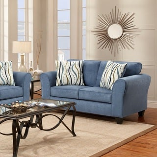 Microfiber Loveseat with 2 Pillows, Patriot Blue