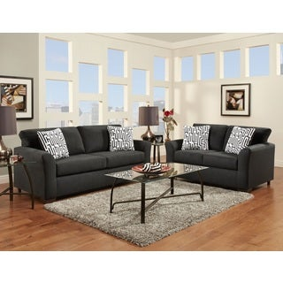 Mazemic Black Microfiber 2-seater Sofa and Loveseat Set with Pillows