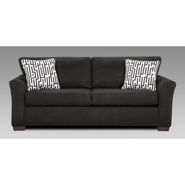 Mazemic Black Microfiber 2-seater Sofa with Pillows