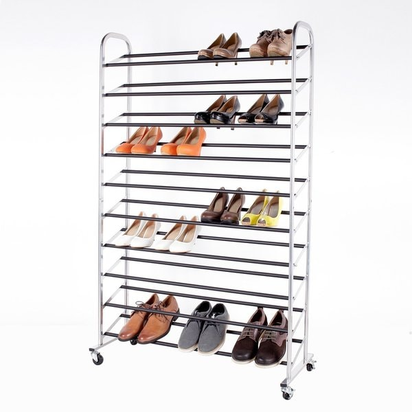 StorageManiac 10-Tier 50-Pair Rolling Shoe Rack, Sturdy Metal Shoes Racks with Non-Slip Bars