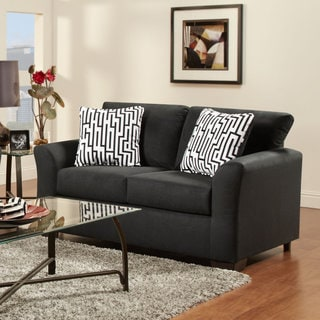 Mazemic Black Microfiber 2-seater Loveseat with Pillows