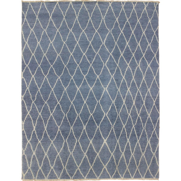 Hand-knotted Azhar Blue Rug (8'6 x 11'9)