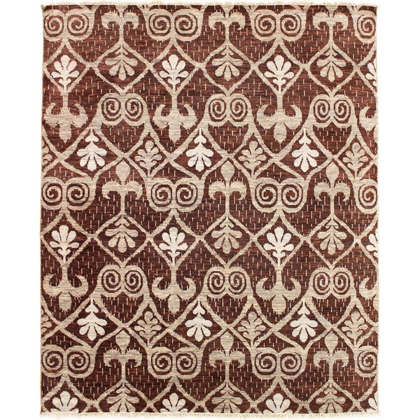 Hand-knotted Douae Brown Rug (8'1 x 9'9) 16015969
