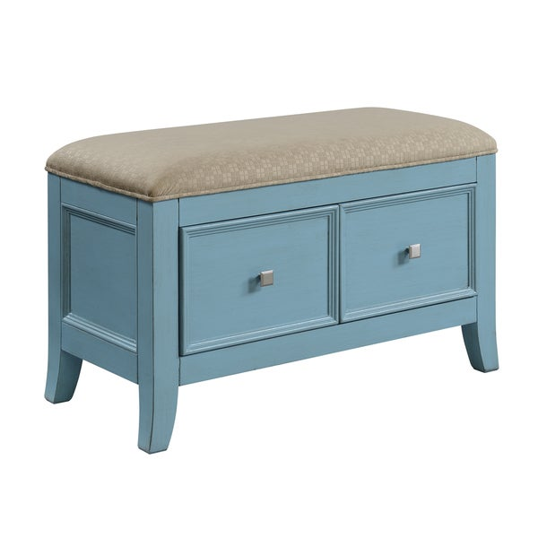 Christopher Knight Home Teal Blue Two Drawer Storage Bench