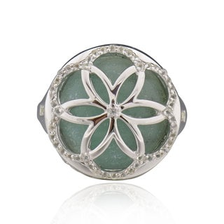 Sterling Silver Round Amazonite and White Topaz Ring