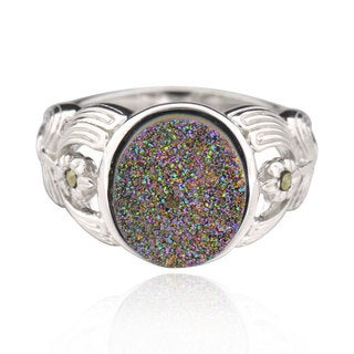 Sterling Silver Oval Druzy Ring