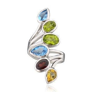Silver Pear Blue Topaz Peridot Garnet Ring