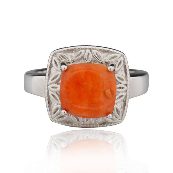 Sterling Silver Square Cushion Oyster Ring